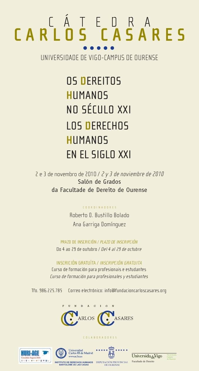 """Cartel Curso """"Os dereitos humanos no século XXI"""" da Cátedra Carlos Casares"""