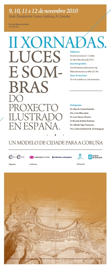 """Cartel das II Xornadas """"Luces e Sombras do Proxecto Ilustrado en España"""""""